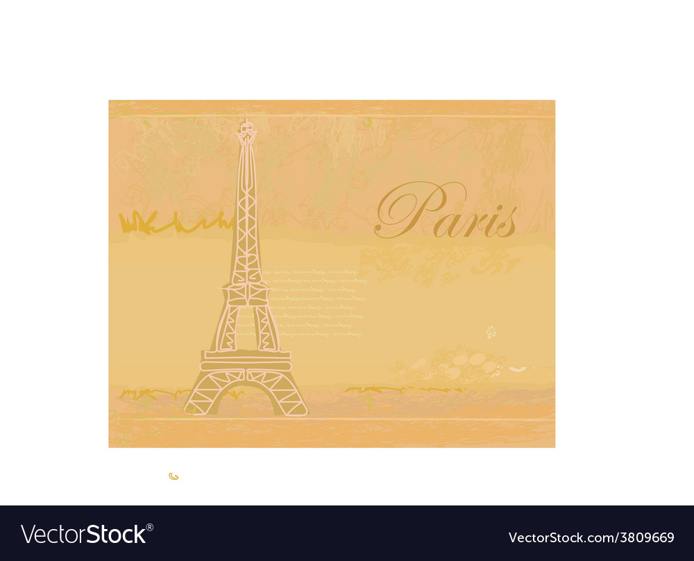 Vintage retro eiffel in paris card vector | Price: 1 Credit (USD $1)