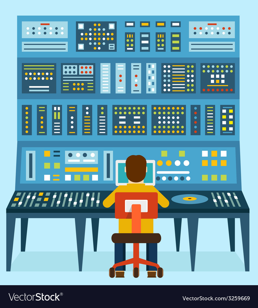 Work place sound engineers vector | Price: 1 Credit (USD $1)