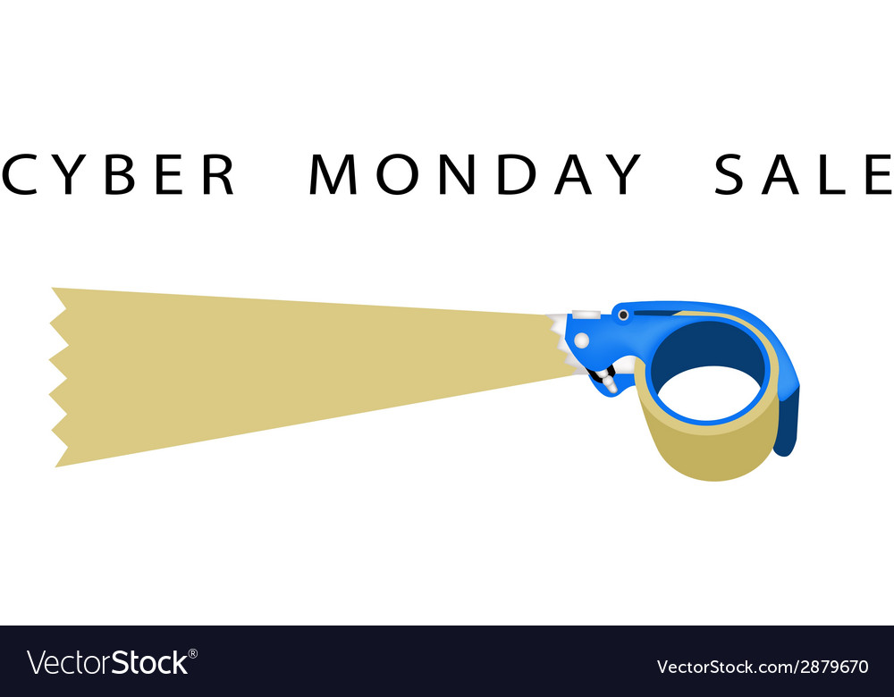 Adhesive tape dispenser with word cyber monday vector | Price: 1 Credit (USD $1)