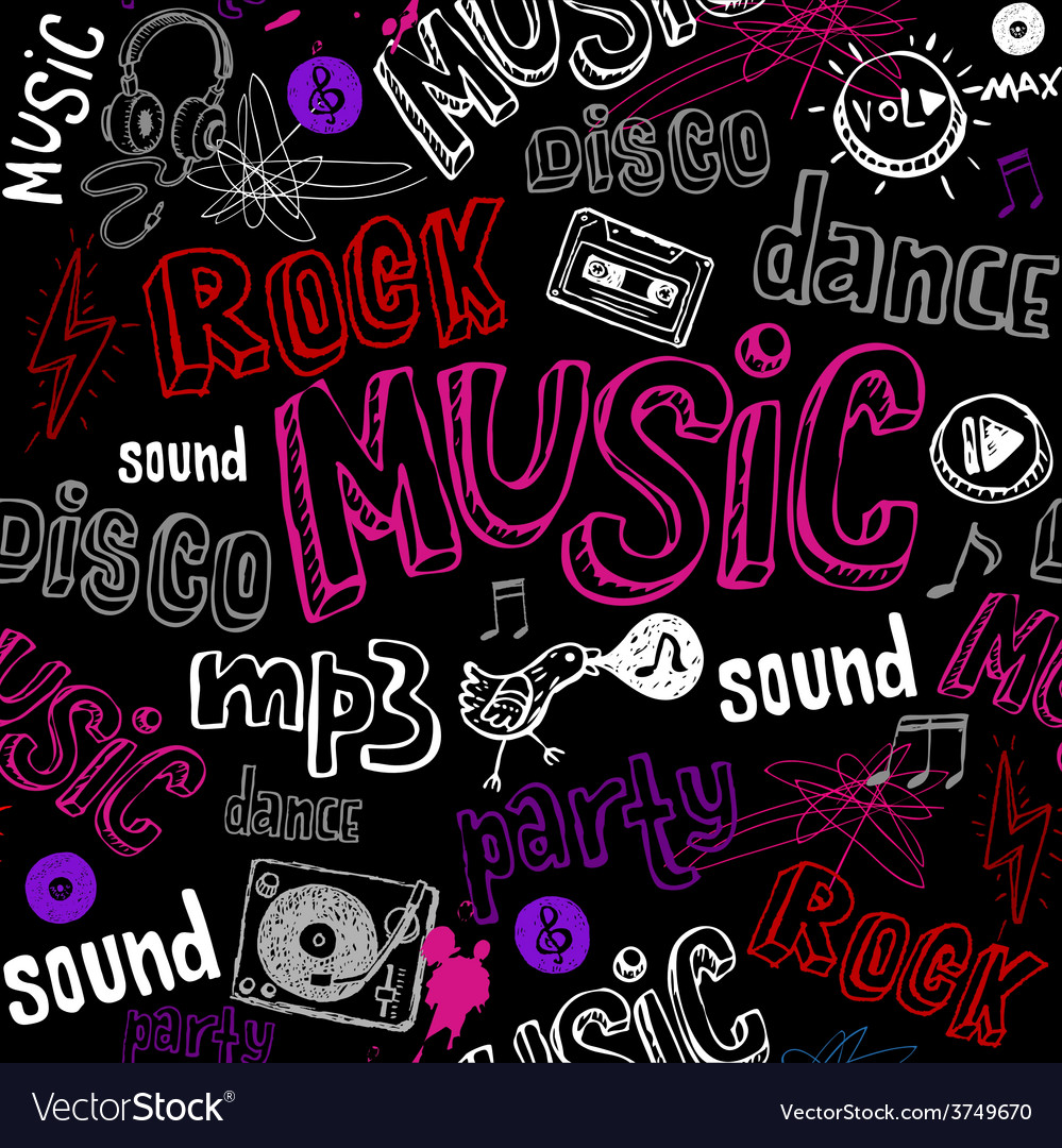 Black seamless music background vector | Price: 1 Credit (USD $1)