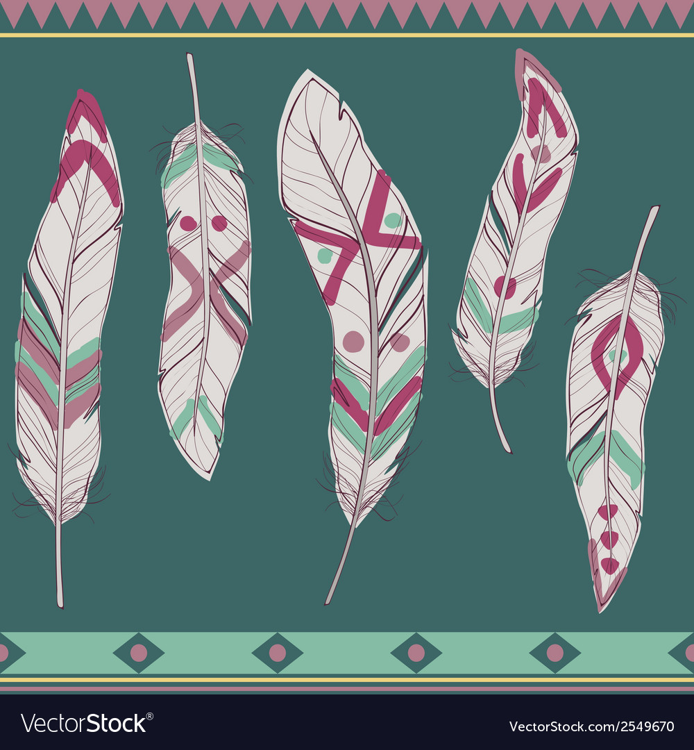 Colorful set of ethnic decorative feathers vector | Price: 1 Credit (USD $1)