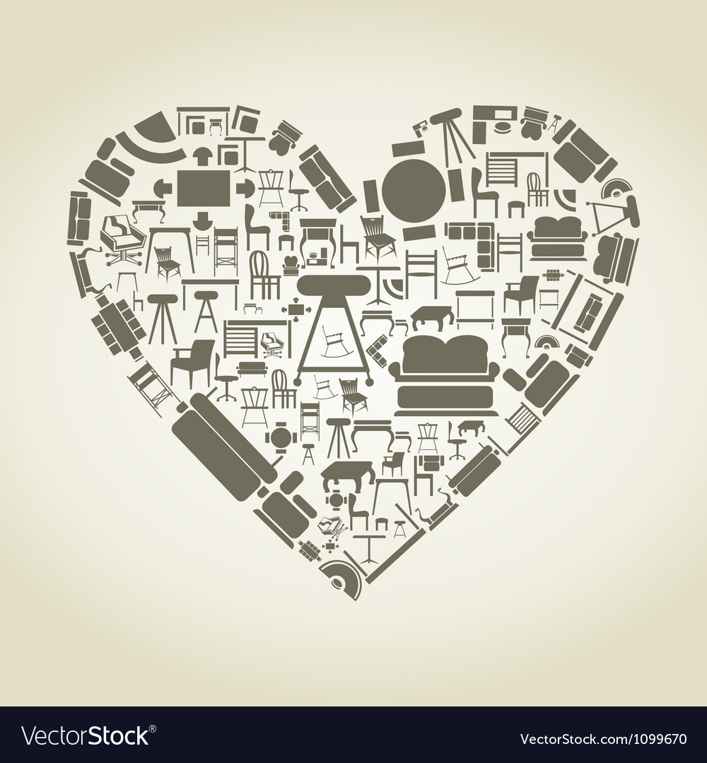 Furniture heart vector | Price: 1 Credit (USD $1)