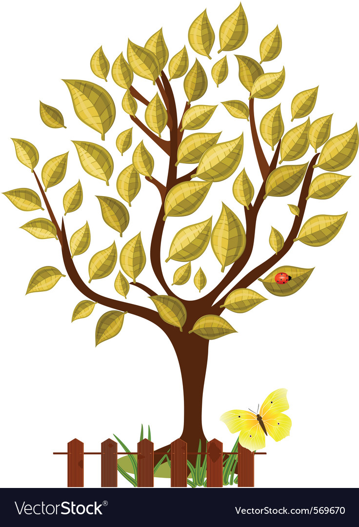 Golden tree with glossy leaves vector | Price: 1 Credit (USD $1)