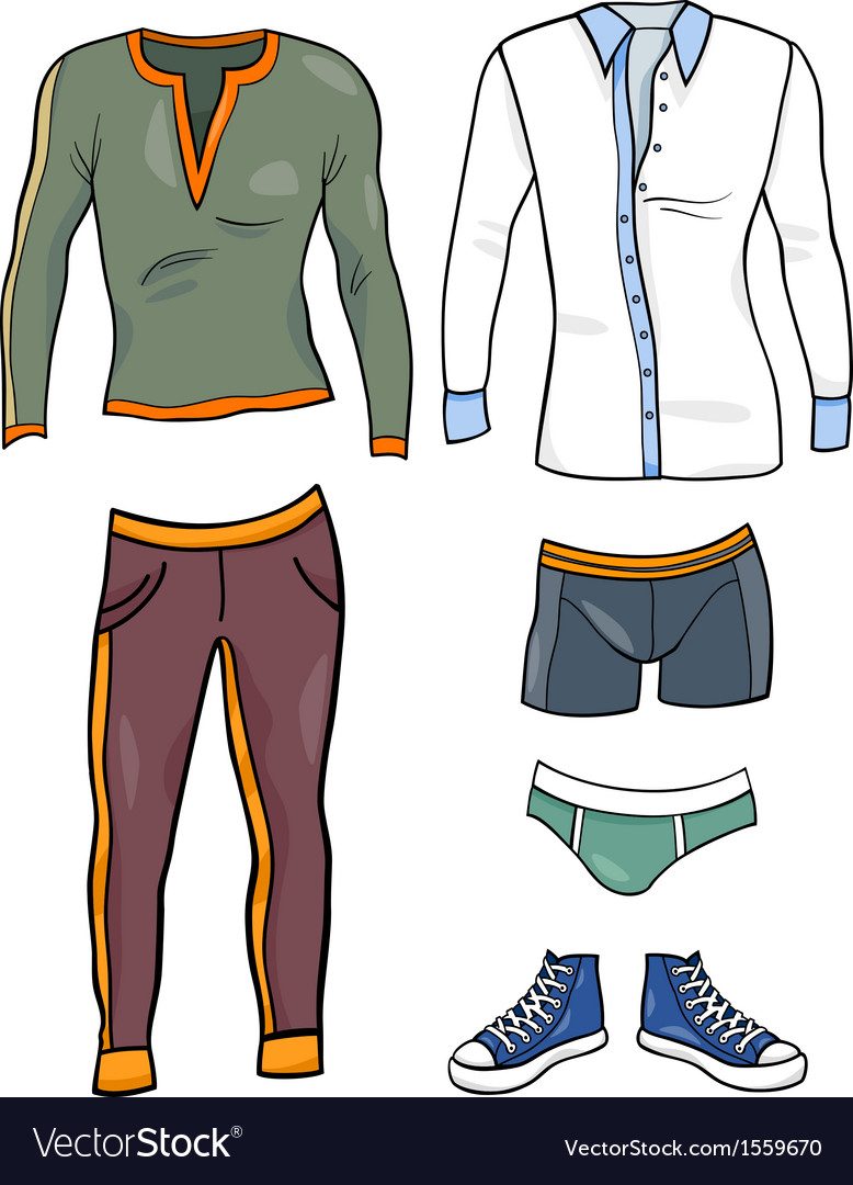 Men clothes objects cartoon set vector | Price: 1 Credit (USD $1)