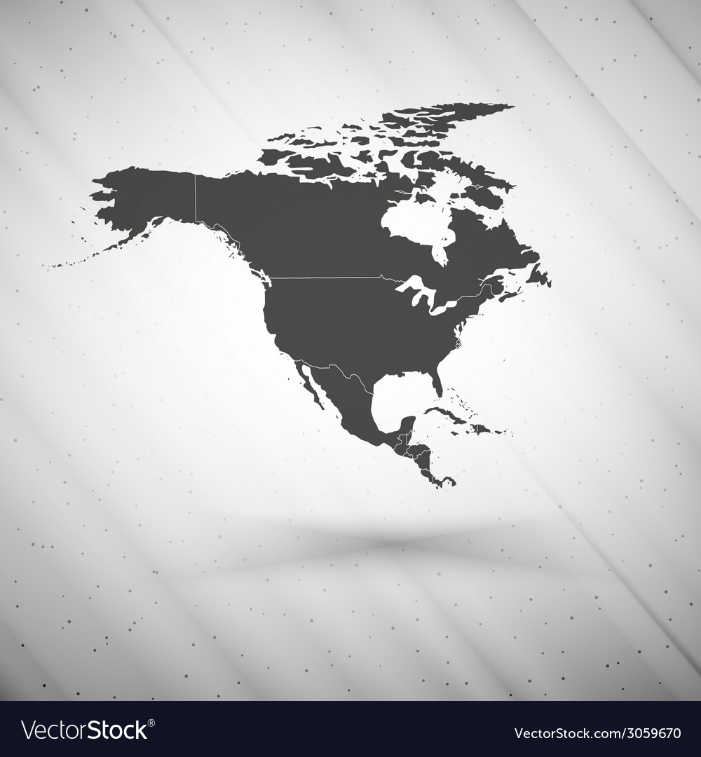 North america map on gray background grunge vector | Price: 1 Credit (USD $1)