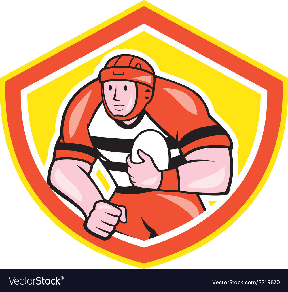 Rugby player holding ball shield cartoon vector | Price: 1 Credit (USD $1)