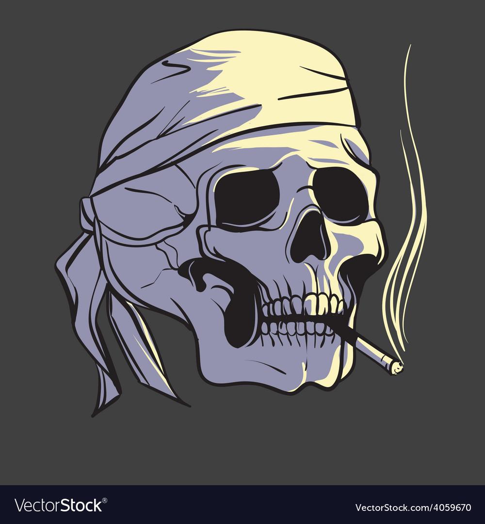 Smoking skull vector | Price: 1 Credit (USD $1)