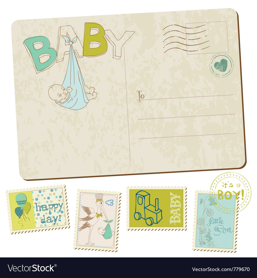 Vintage baby boy arrival vector | Price: 1 Credit (USD $1)
