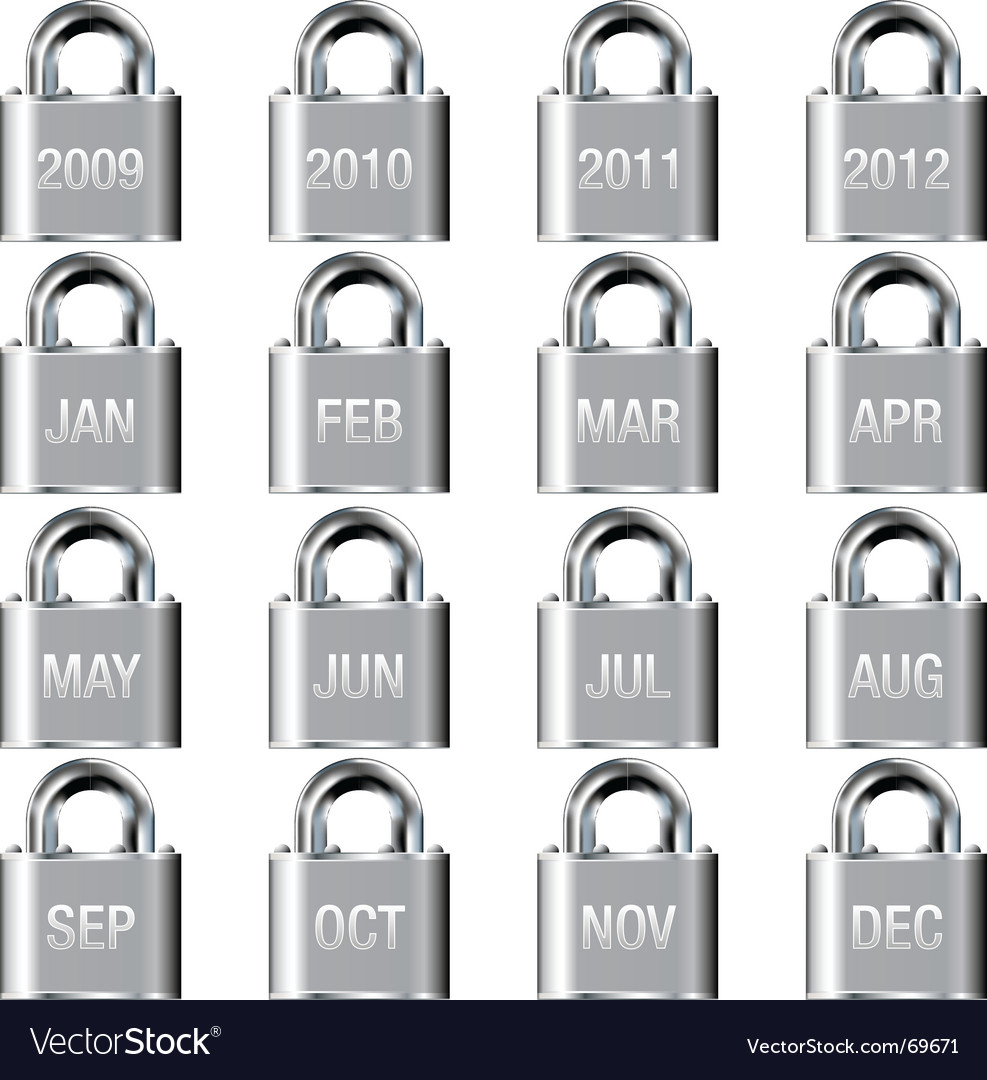 Calendar icons on lock buttons vector | Price: 1 Credit (USD $1)