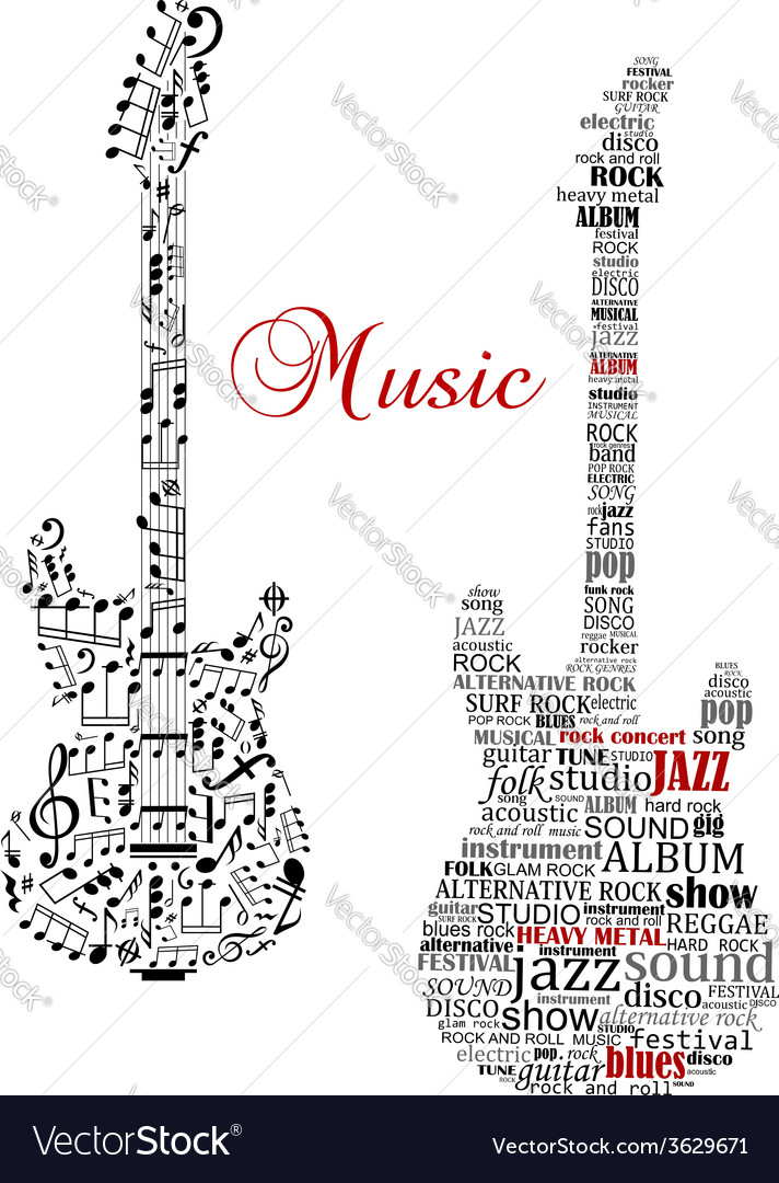 Classic guitars with words and musical notes vector | Price: 1 Credit (USD $1)