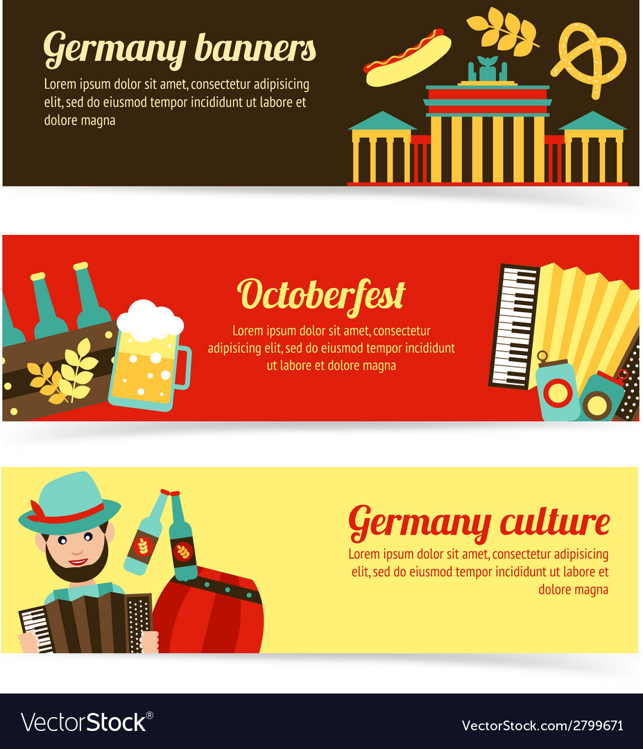 Germany travel banner set vector | Price: 1 Credit (USD $1)