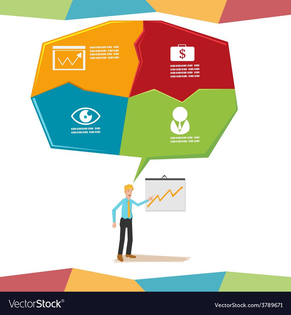 Man present bubble info graphic vector | Price: 1 Credit (USD $1)