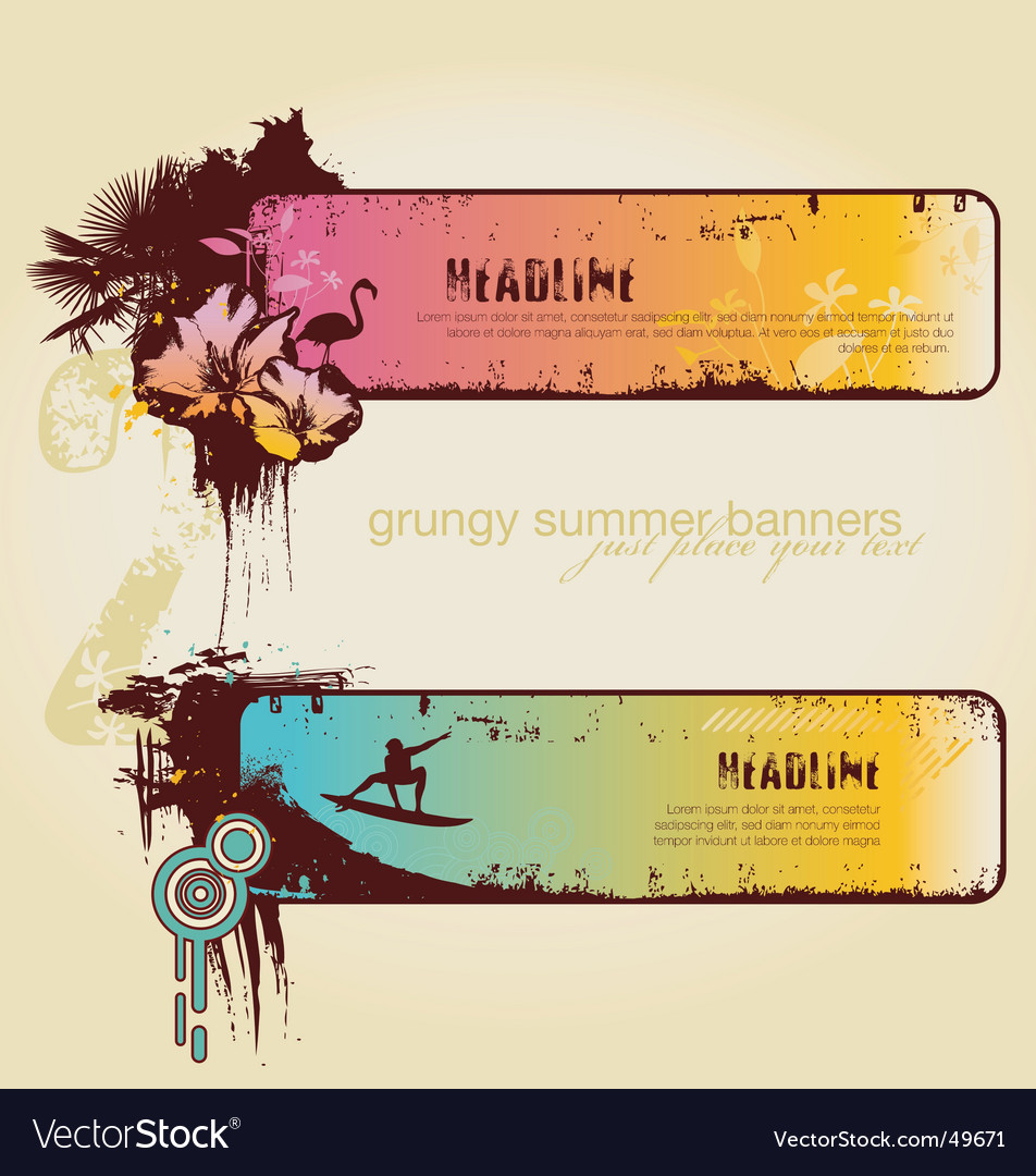 Tropical summer banners vector | Price: 1 Credit (USD $1)