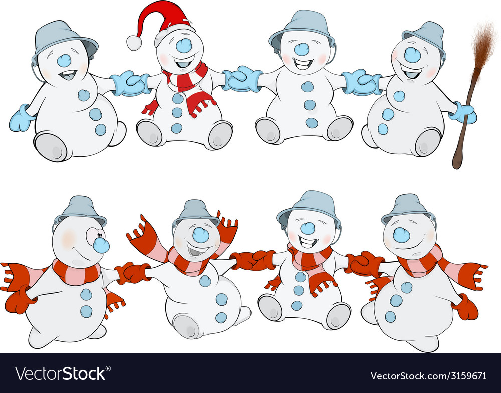 Two rows of christmas snowmans vector | Price: 1 Credit (USD $1)