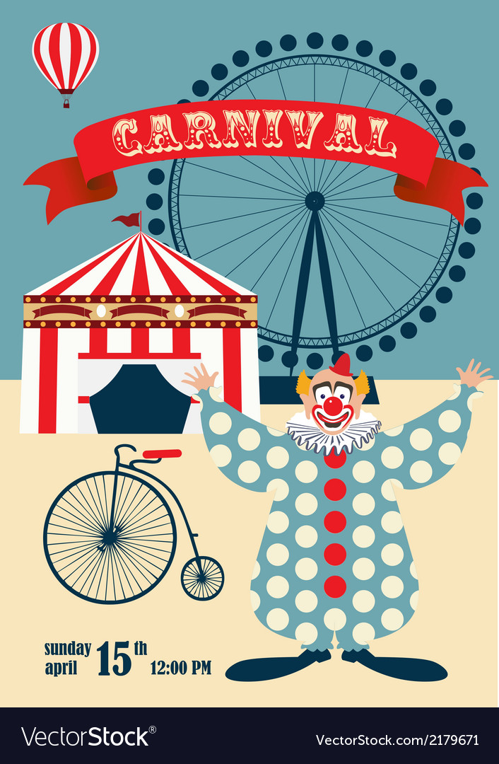 Vintage carnival or circus poste vector | Price: 1 Credit (USD $1)