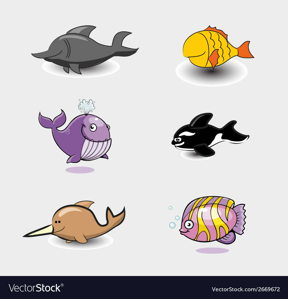 A group of different fishes vector | Price: 1 Credit (USD $1)