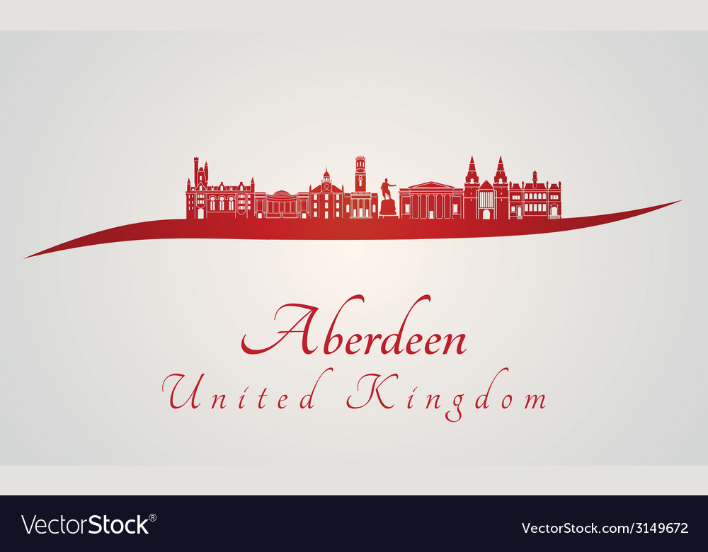 Aberdeen skyline in red vector | Price: 1 Credit (USD $1)