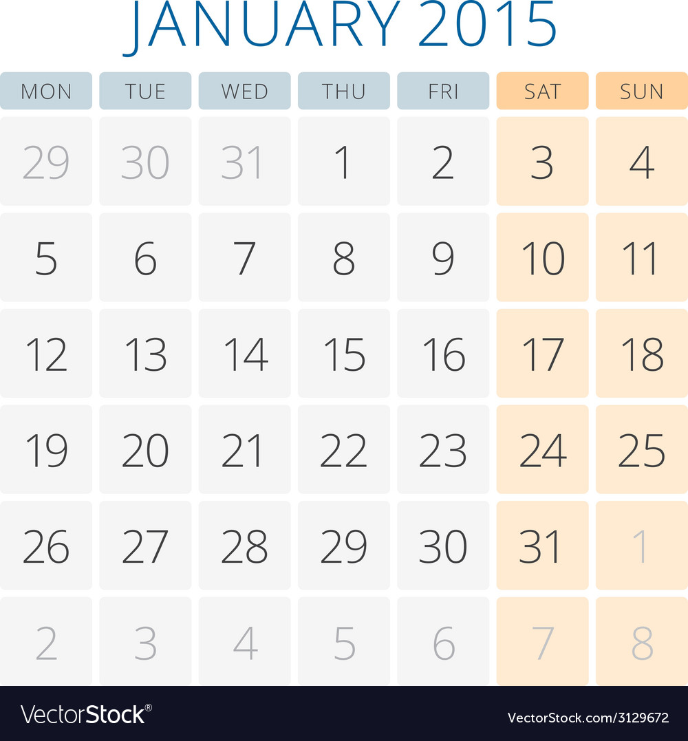 Calendar 2015 january design template vector | Price: 1 Credit (USD $1)