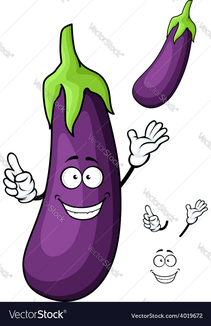 Cartoon glossy violet eggplant vegetable character vector | Price: 1 Credit (USD $1)