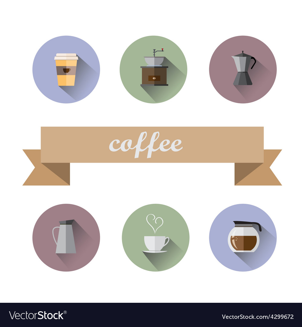 Coffee shop flat icons vector | Price: 1 Credit (USD $1)