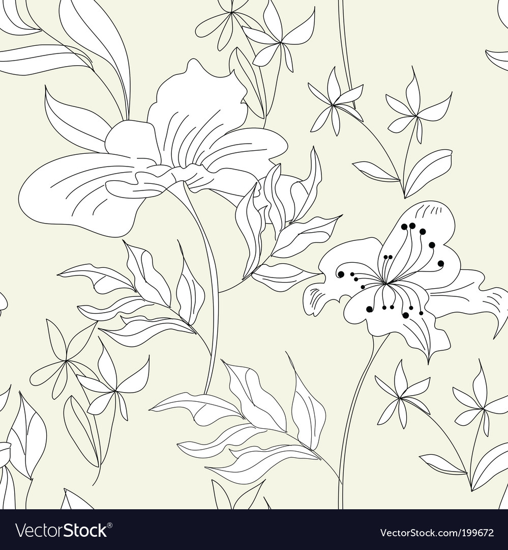 Floral seamless wallpaper vector | Price: 1 Credit (USD $1)