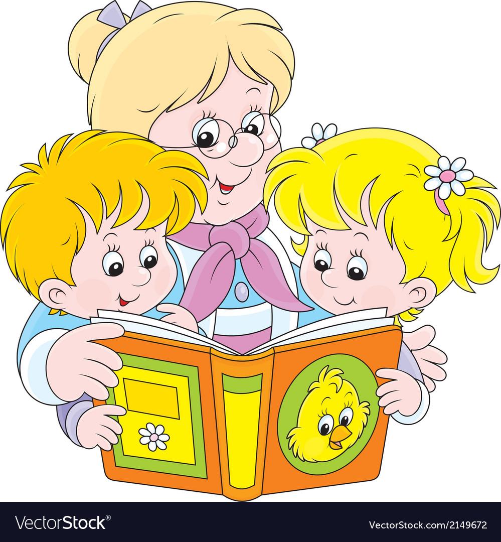 Grandma and grandchildren reading vector   Price: 1 Credit (USD $1)