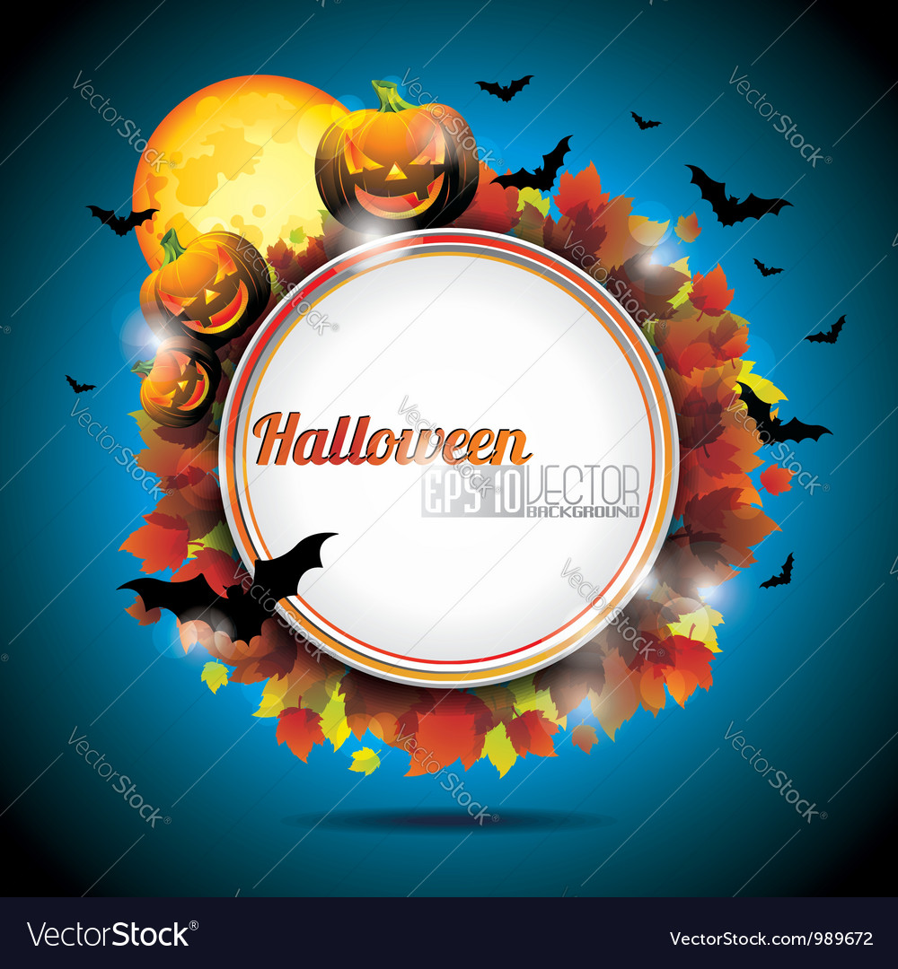Halloween party background with pumpkins and moon vector | Price: 3 Credit (USD $3)