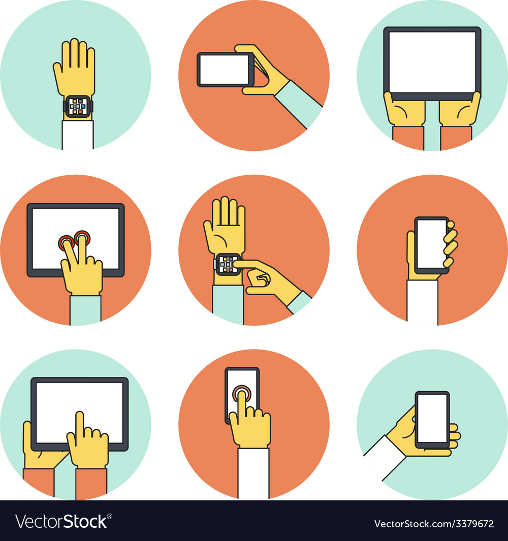 Hands holding touch screen devices icons vector | Price: 1 Credit (USD $1)
