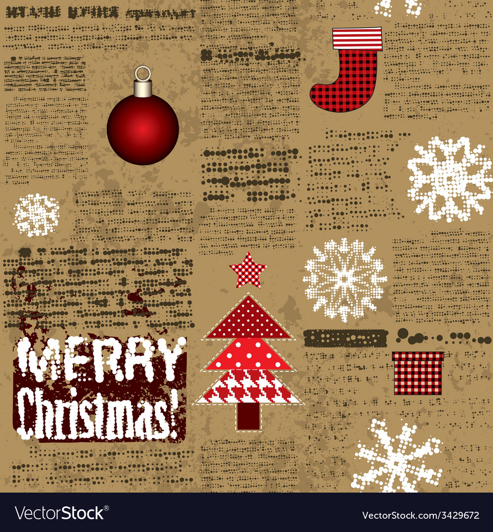 Imitation of the newspaper with christmas elements vector | Price: 1 Credit (USD $1)