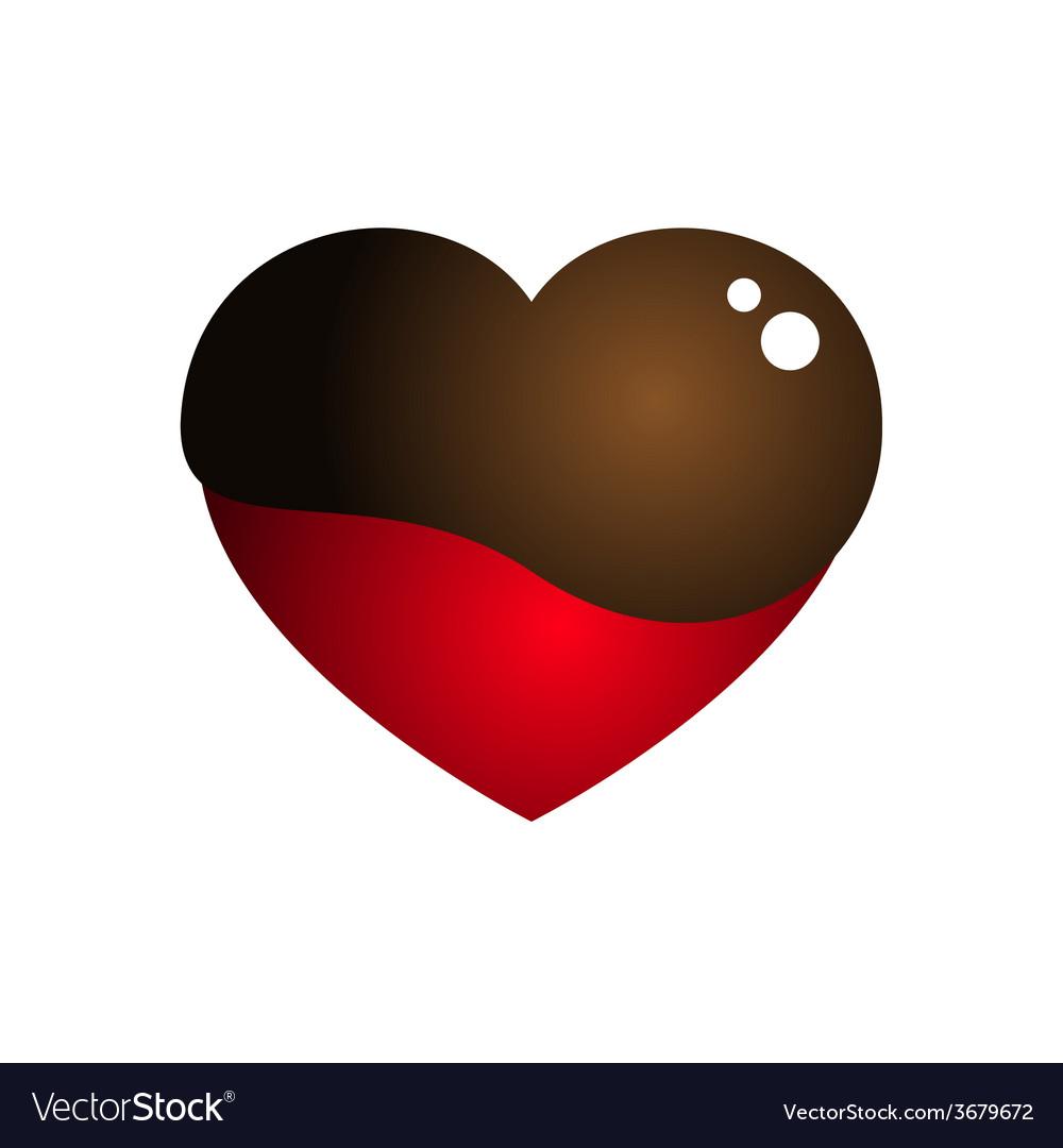 Love heart melt chocolate vector
