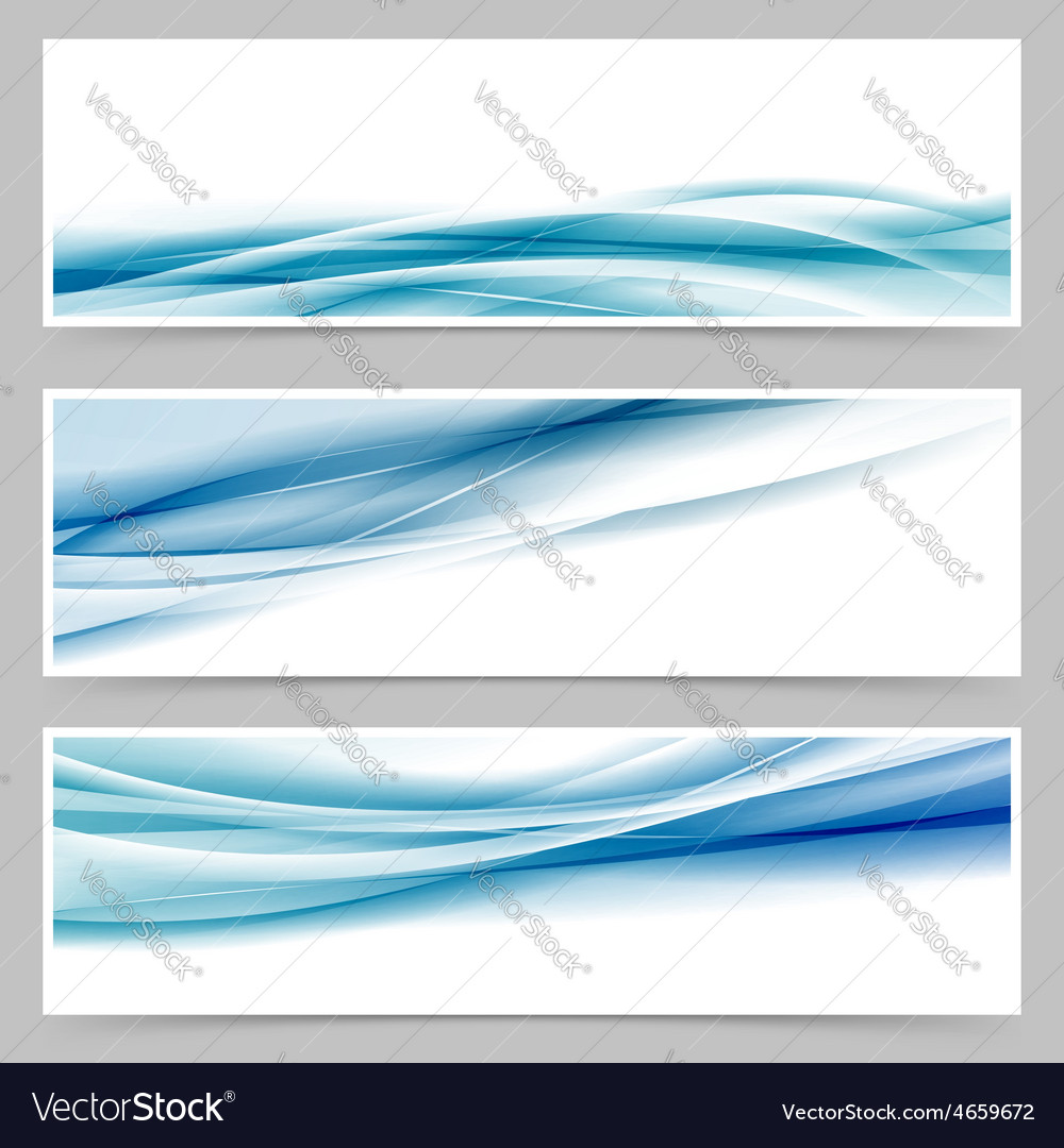Modern header set with abstract blue wave lines vector | Price: 1 Credit (USD $1)