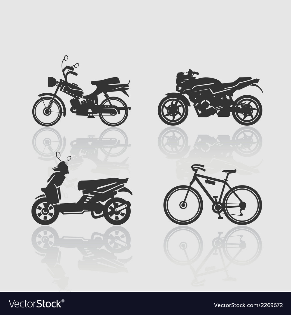 Set silhouettes bikes vector | Price: 1 Credit (USD $1)