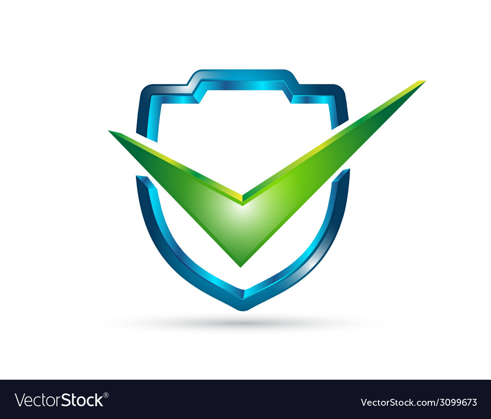 3d shield with check mark vector | Price: 1 Credit (USD $1)