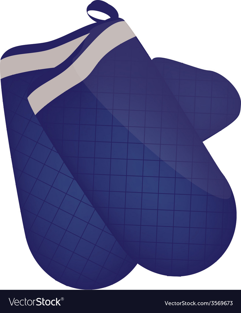 Blue kitchen mittens vector | Price: 1 Credit (USD $1)