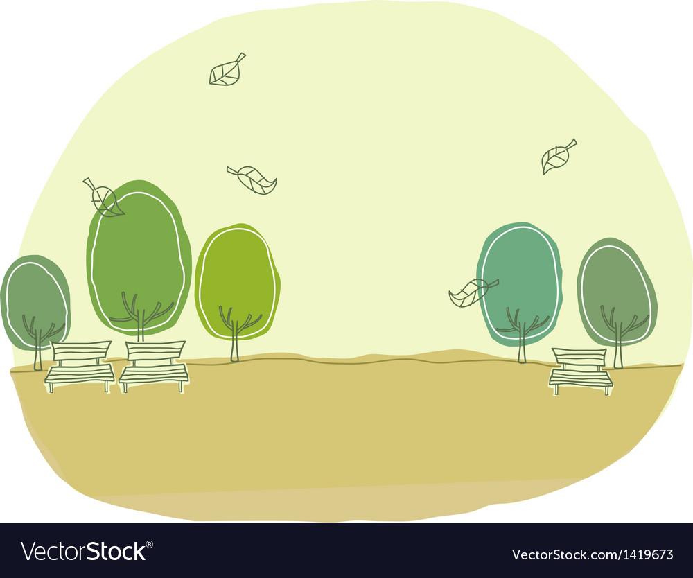 Cute park landscape vector | Price: 1 Credit (USD $1)