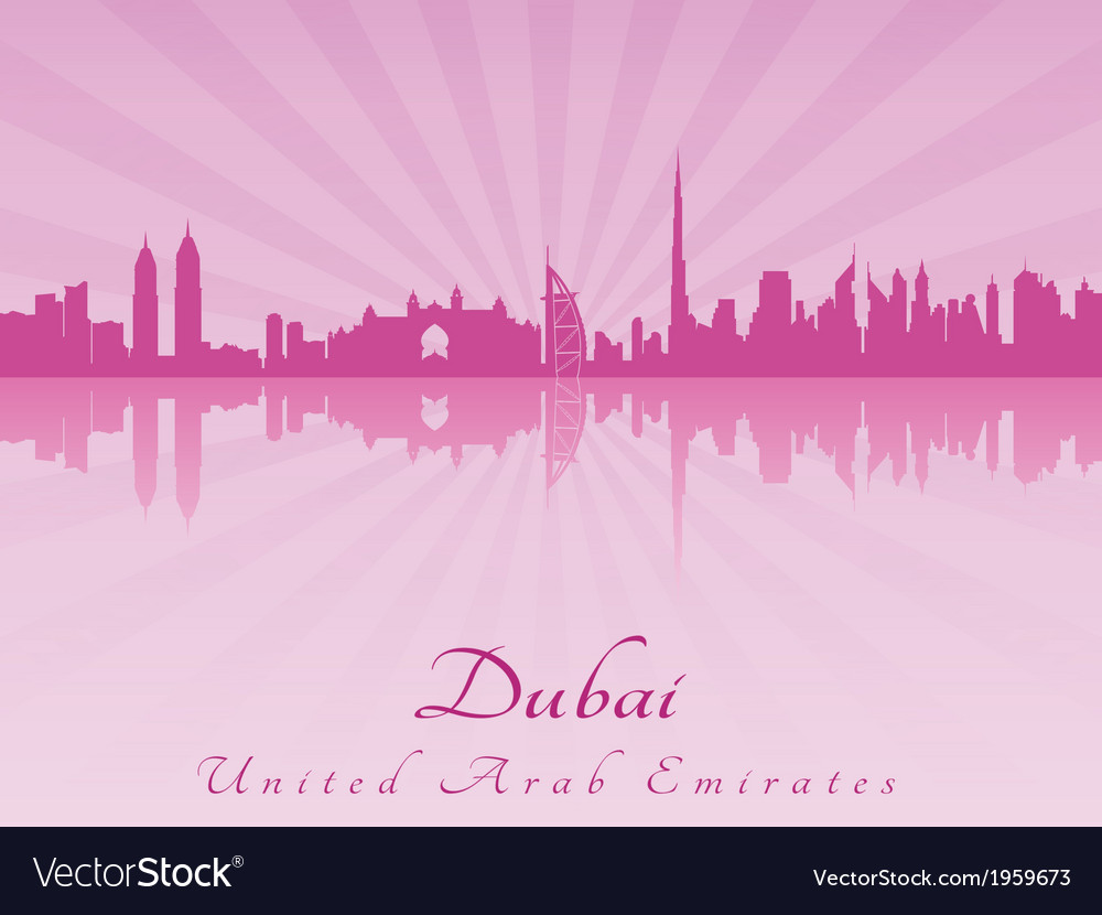 Dubai skyline in purple radiant orchid vector | Price: 1 Credit (USD $1)