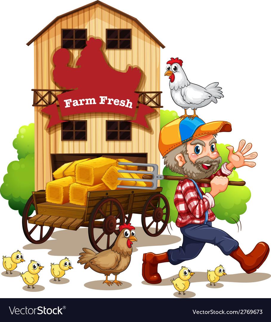 Farmer and barn vector | Price: 1 Credit (USD $1)