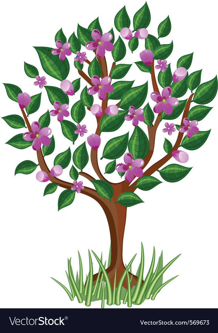 Flower tree with glossy leaves vector | Price: 1 Credit (USD $1)