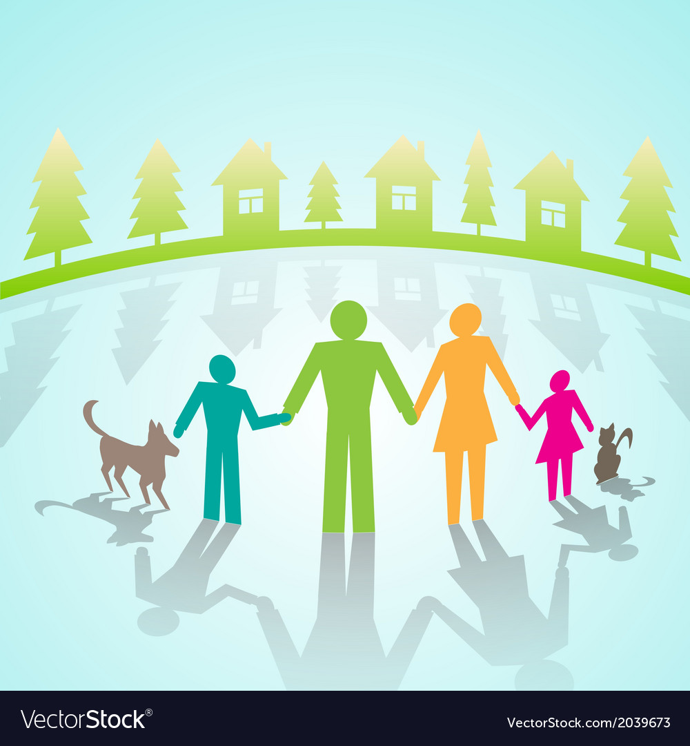 Multi-color community pictograms in village vector | Price: 1 Credit (USD $1)
