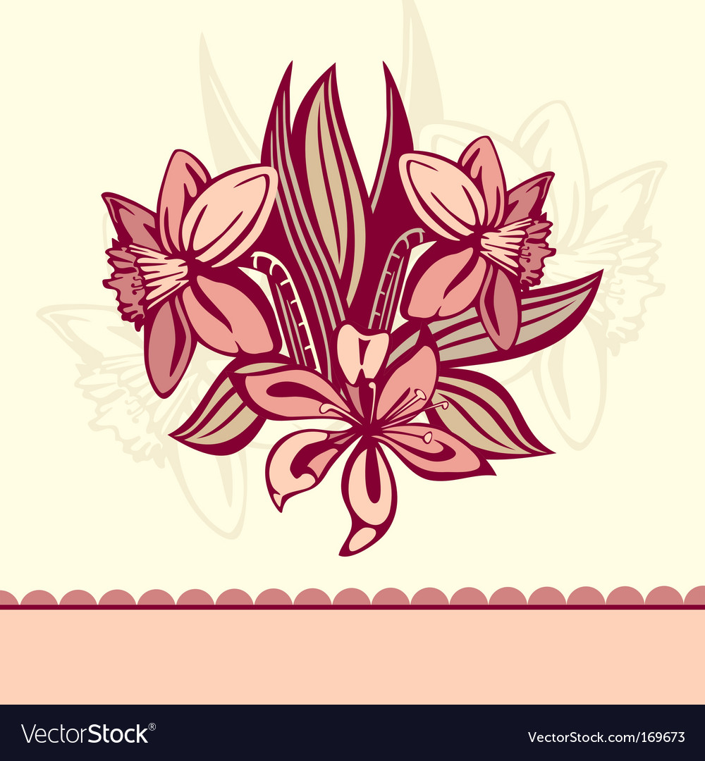 Retro card with flowers vector | Price: 1 Credit (USD $1)