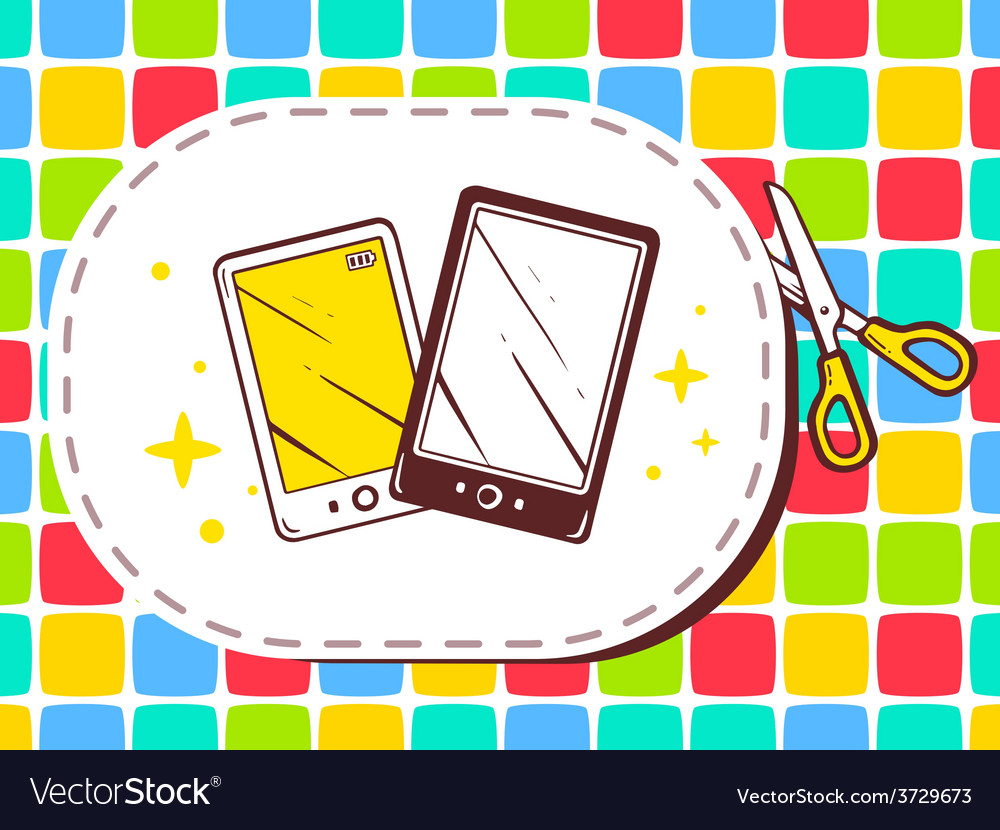 Scissors cutting sticker with icon of pho vector | Price: 1 Credit (USD $1)