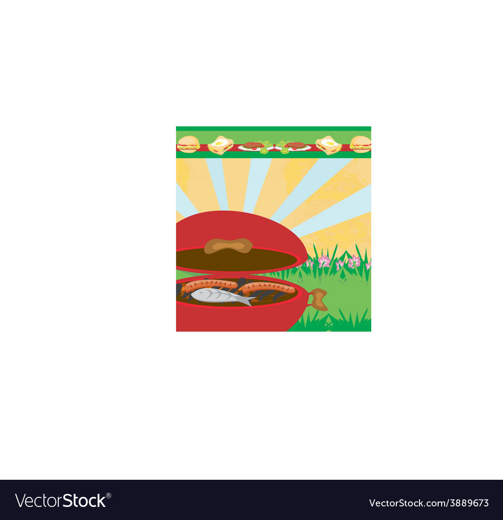 Tasty meat on the grill - barbecue party vector | Price: 1 Credit (USD $1)
