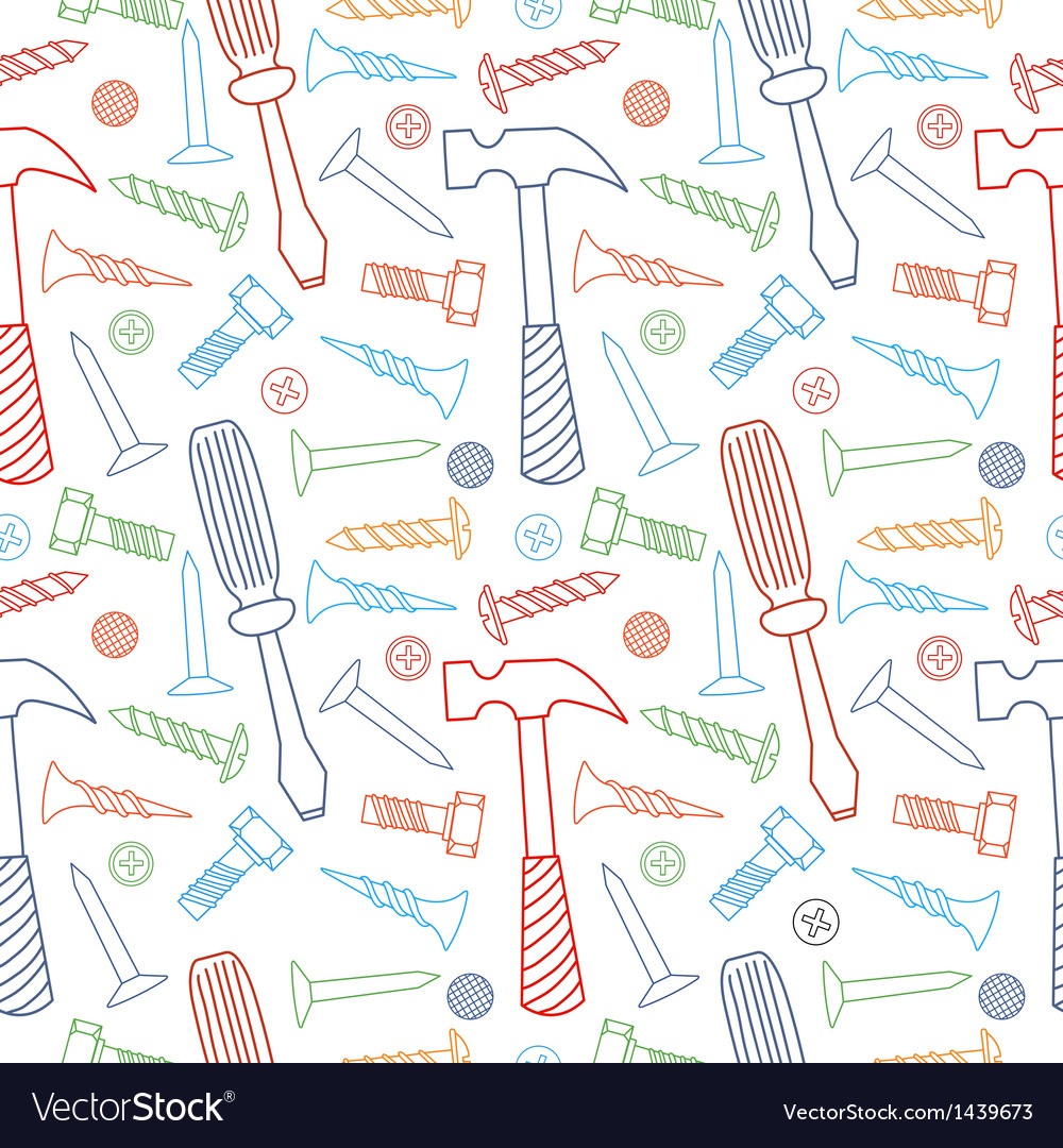 Tools seamless line color pattern vector | Price: 1 Credit (USD $1)