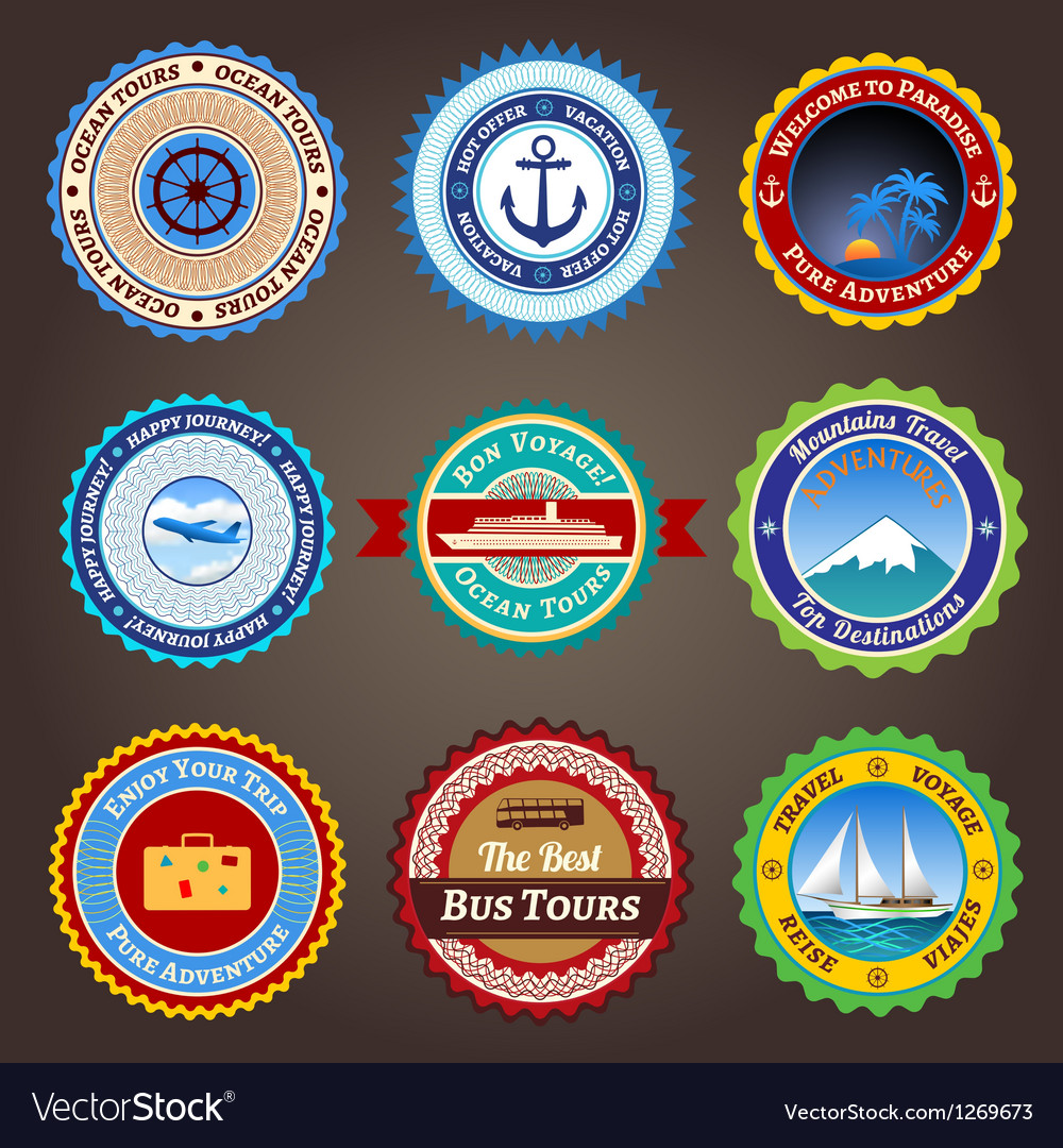 Travel labels badges and stickers vector | Price: 1 Credit (USD $1)