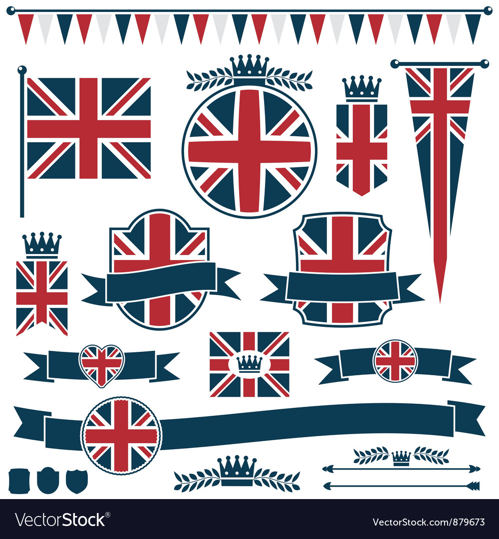 Uk flags and ribbons vector | Price: 1 Credit (USD $1)