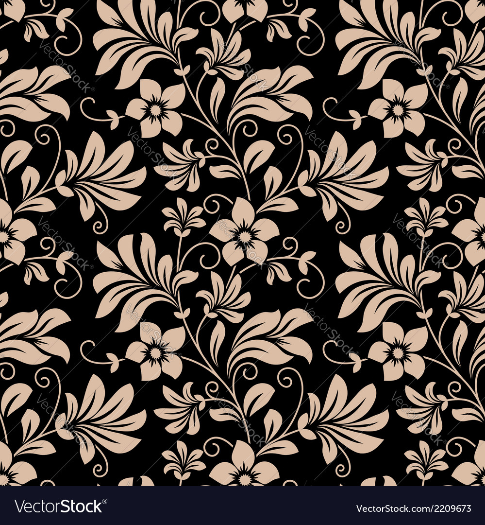 Vintage floral wallpaper seamless pattern vector | Price: 1 Credit (USD $1)