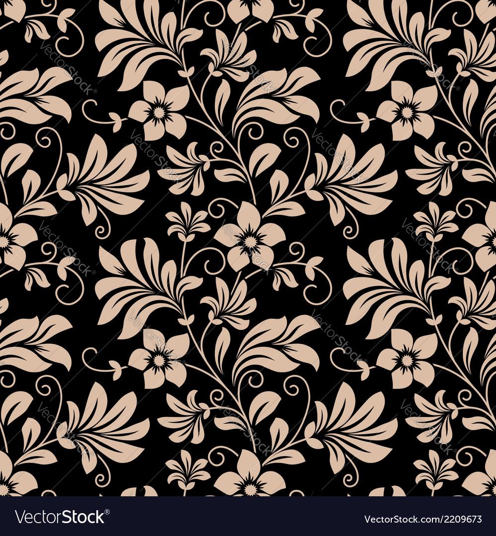 Vintage floral wallpaper seamless pattern vector | Price: 1 Credit (USD $1)