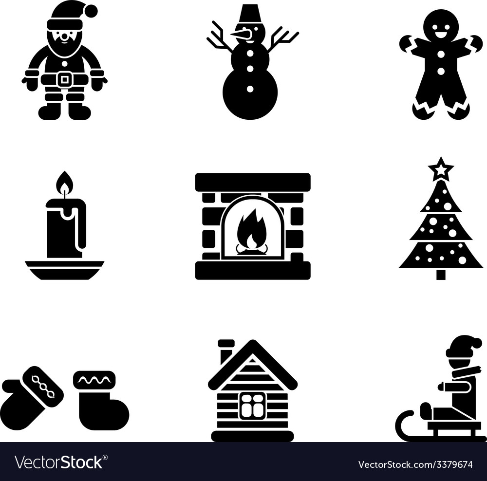 Black christmas icons on white background vector | Price: 1 Credit (USD $1)