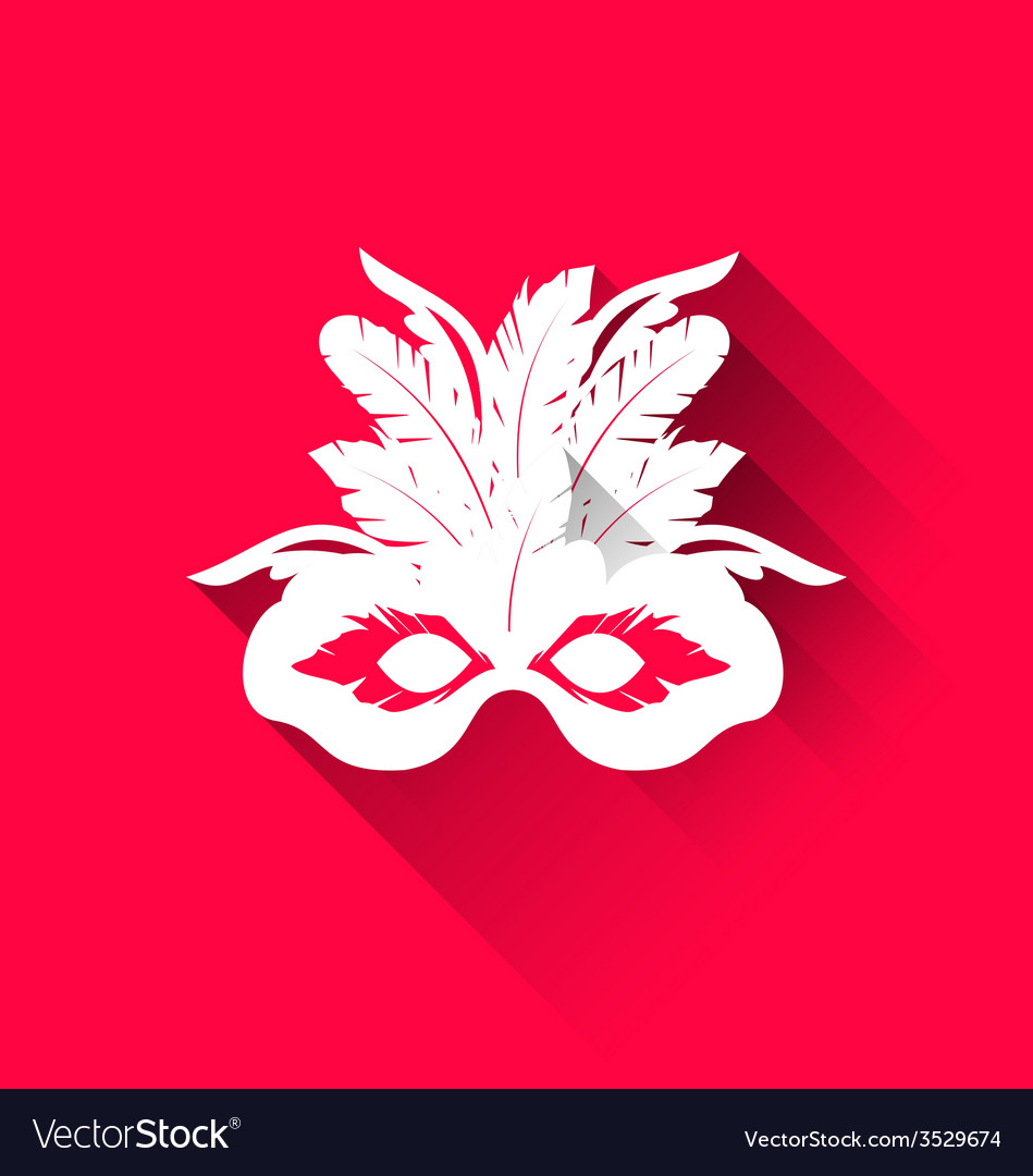 Carnival mask with feathers with shadows trendy vector | Price: 1 Credit (USD $1)