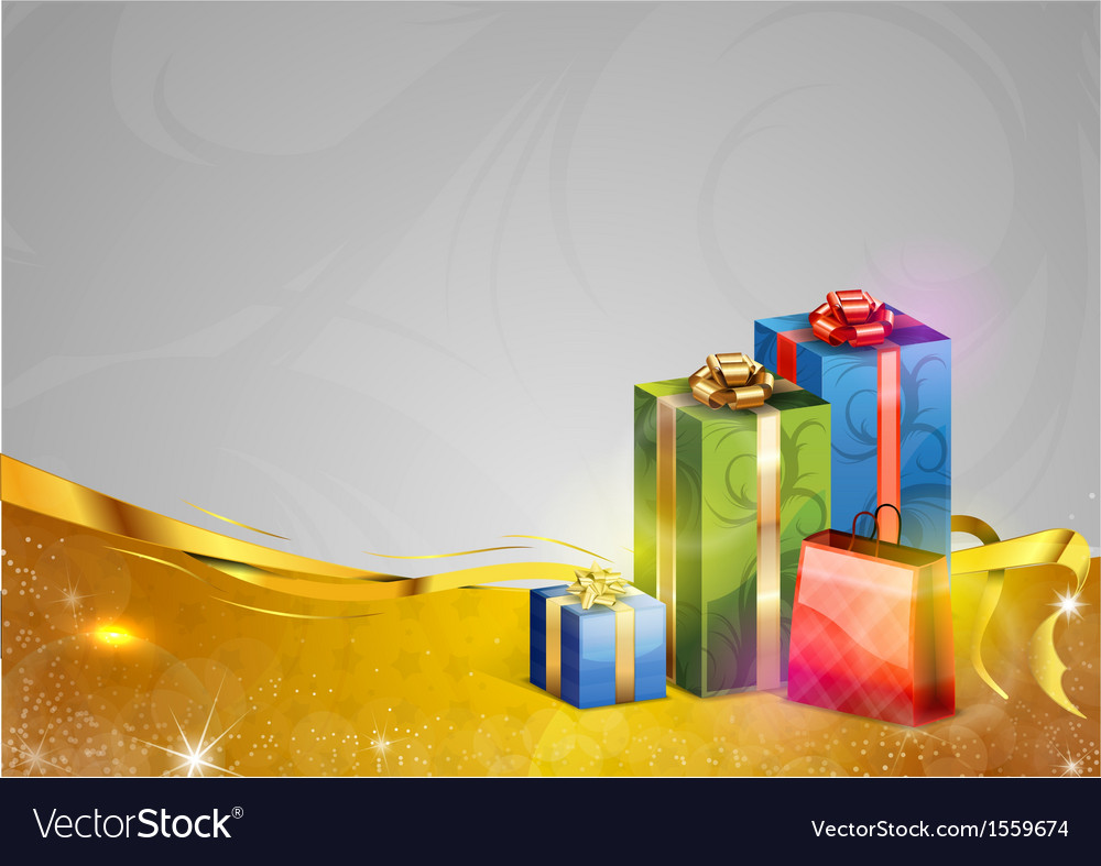 Christmas background two color gold gifts vector | Price: 1 Credit (USD $1)